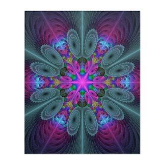 Impressions En Acrylique Mandala d'art coloré central de fractale avec le