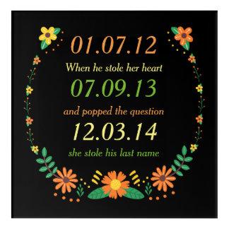 Impressions En Acrylique Mariage floral de dates personnalisé par moments