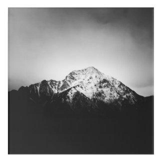 Impressions En Acrylique Montagne neigeuse noire et blanche