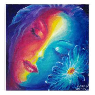 Impressions En Acrylique Muse de sommeil avec la fleur bleue
