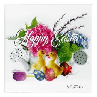 Impressions En Acrylique Oeufs de pâques d'aquarelle, canetons et fleurs de