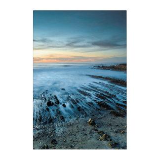 Impressions En Acrylique Paysage marin bleu au coucher du soleil, la