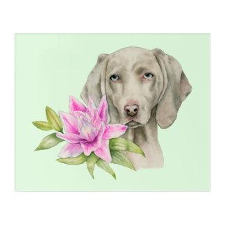 Impressions En Acrylique Peinture d'aquarelle de chien et de lis de