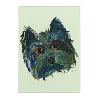 Impressions En Acrylique Peinture d'art de bruit de Yorkie dans le bleu et