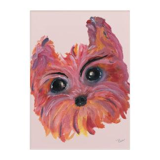 Impressions En Acrylique Peinture d'art de bruit de Yorkie dans le rose et