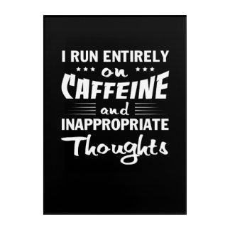Impressions En Acrylique Pensées inadéquates de caféine de course de café