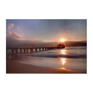 Impressions En Acrylique Pilier de plage au coucher du soleil, Hawaï