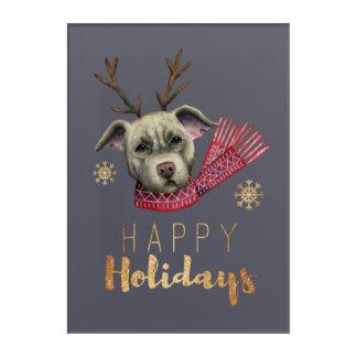 Impressions En Acrylique Pitbull de renne de Noël avec des polices d'or de