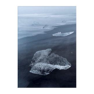 Impressions En Acrylique Plage de sable et glace noires, Islande