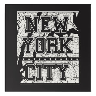 Impressions En Acrylique Plan de ville de New York City |