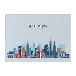 Impressions En Acrylique Rouge, blanc et bleu de New York City |