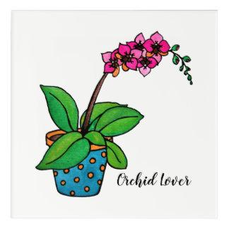 Impressions En Acrylique Usine d'orchidée d'aquarelle dans le beau pot