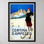 Imprimez le rétro ` vintage Ampezzo de Cortina d d Poster
