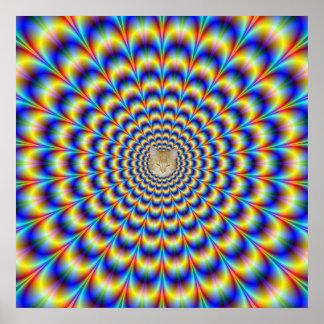Impulsion psychédélique en affiche bleue et jaune