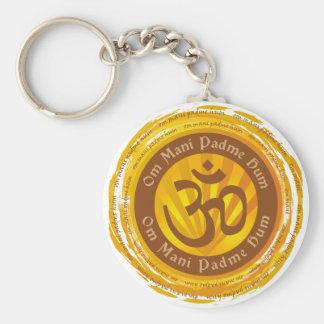Incantation tibétaine avec le symbole d'Aum Porte-clé Rond