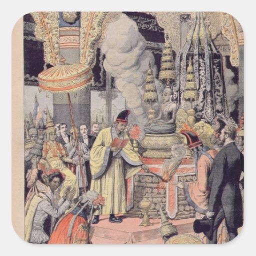 Incinération solennelle du Roi Norodom I Stickers Carrés
