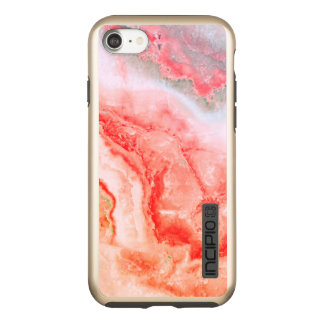 Incipio DualPro Shine iPhone 7 Case L'or rose de luxe rougissent agate minérale