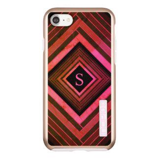 Incipio DualPro Shine iPhone 7 Case Monogramme géométrique rose rustique de carrés