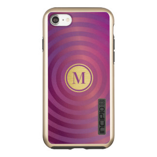 Incipio DualPro Shine iPhone 7 Case Monogramme pourpre frais d'or de motif de rayure
