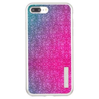 Incipio DualPro Shine iPhone 7 Plus Case Coloré lumineux floral bleu amorti de rose au néon
