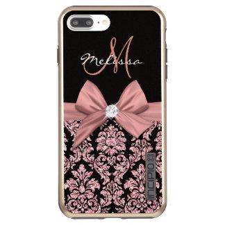 Incipio DualPro Shine iPhone 7 Plus Case Damassé rose de noir de parties scintillantes