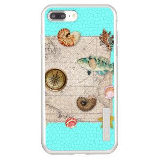 Incipio DualPro Shine iPhone 7 Plus Case La marine prise la carte vintage beige Teal