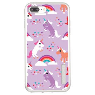 Incipio DualPro Shine iPhone 7 Plus Case Pourpre mignon d'arc-en-ciel de licorne