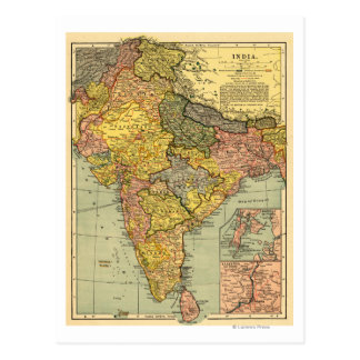 IndiaPanoramic MapIndia Carte Postale
