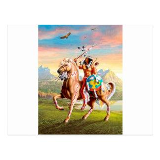 Indien d'Amerique courageux sur le cheval Cartes Postales