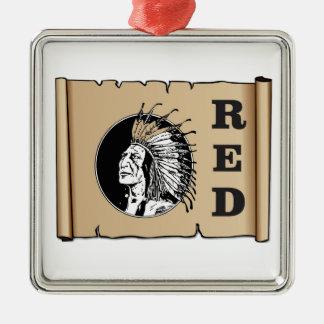 Indien de papier rouge ornement carré argenté