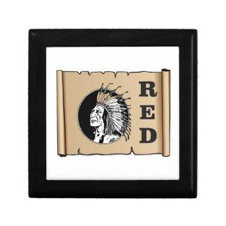 Indien de papier rouge petite boîte à bijoux carrée