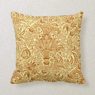Indien de William Morris, jaune de moutarde et or Oreiller
