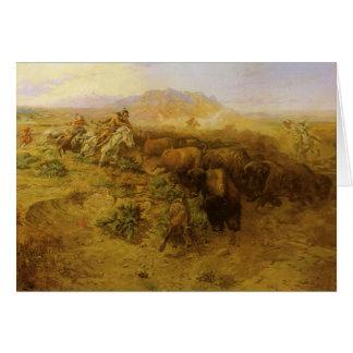 Indiens vintages, chasse de Buffalo par cm Russell Carte De Vœux