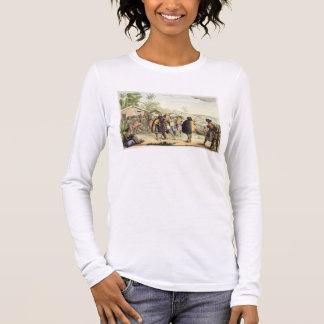 Indigènes polynésiens saluant et frottant des nez, t-shirt à manches longues