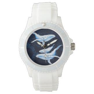 Indigo de famille de baleines bleues montres bracelet