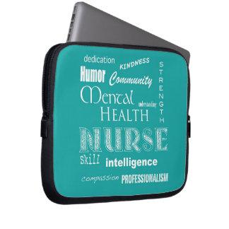 Infirmière-Attributs de santé mentale/bleu-vert Housses Pour Ordinateur Portable