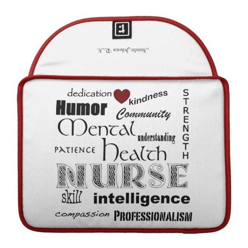 Infirmière-Attributs de santé mentale/nom/rouge+Wh Poche Pour Macbook Pro