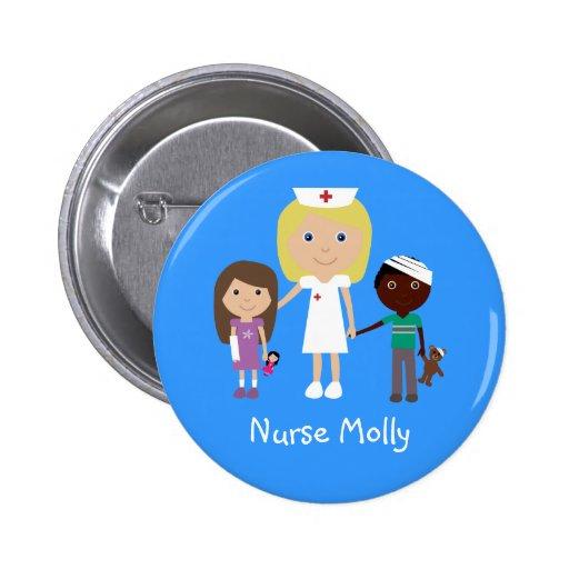Infirmière de bande dessinée et bouton mignons d'e badges avec agrafe