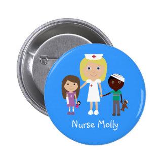 Infirmière de bande dessinée et bouton mignons d'e badges