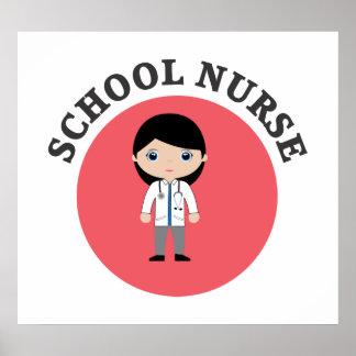Infirmière d'école en cercle rouge poster
