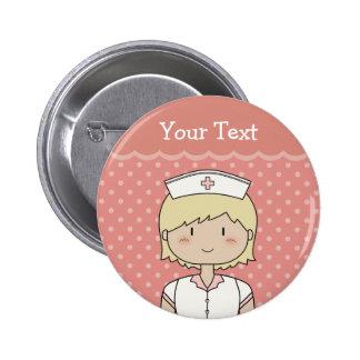 Infirmière mignonne de bande dessinée blonde badges