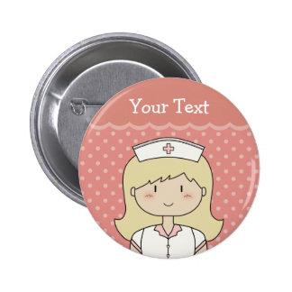 Infirmière mignonne de bande dessinée (blonde) pin's avec agrafe