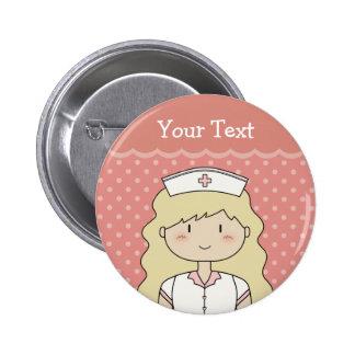 Infirmière mignonne de bande dessinée blonde badges avec agrafe