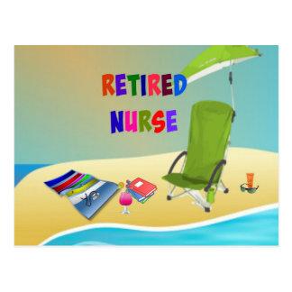 Infirmière retraitée, amusement au soleil carte postale