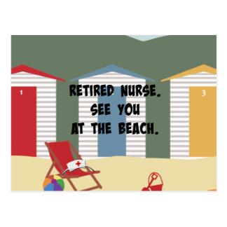 Infirmière retraitée. Voyez-vous à la plage Cartes Postales
