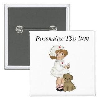 Infirmière vintage avec le T-shirts et les cadeaux Badge Carré 5 Cm
