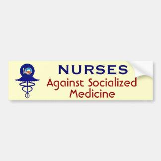 Infirmières contre la médecine socialisée autocollant de voiture