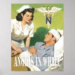Infirmières de militaires - anges en affiche blanc