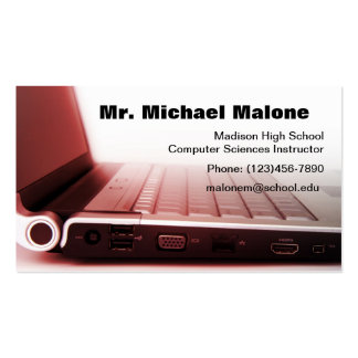 Information de professeur de technicien de clavier modèle de carte de visite