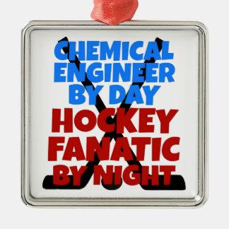 Ingénieur chimiste d'amant d'hockey ornement carré argenté
